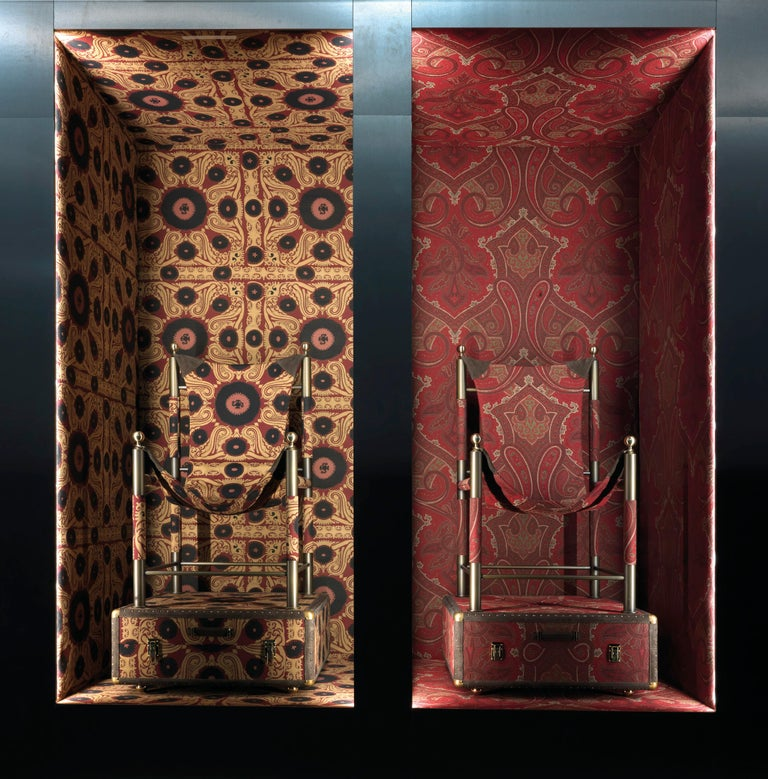 Italian Etro Home Interiors Babel Travel Trunk in Red Paisley and Wood For Sale