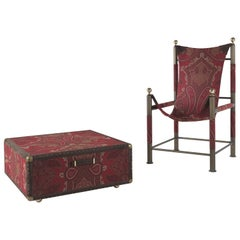 Etro Home Interiors Babel Travel Trunk in Red Paisley and Wood