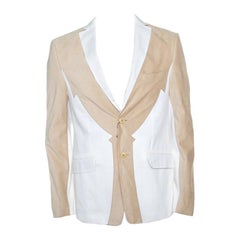 4bbd0acd961 Escada Beige Textured Silk Trim Short Sleeve Jacket XS For Sale at ...