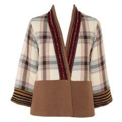 Etro Beige Checkered Paneled Cotton Tribal Trim Kimono Jacket M