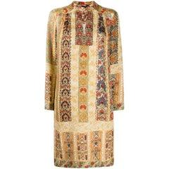 ETRO beige silk FLORAL STRIPE Long Sleeve Shift Dress 42 M