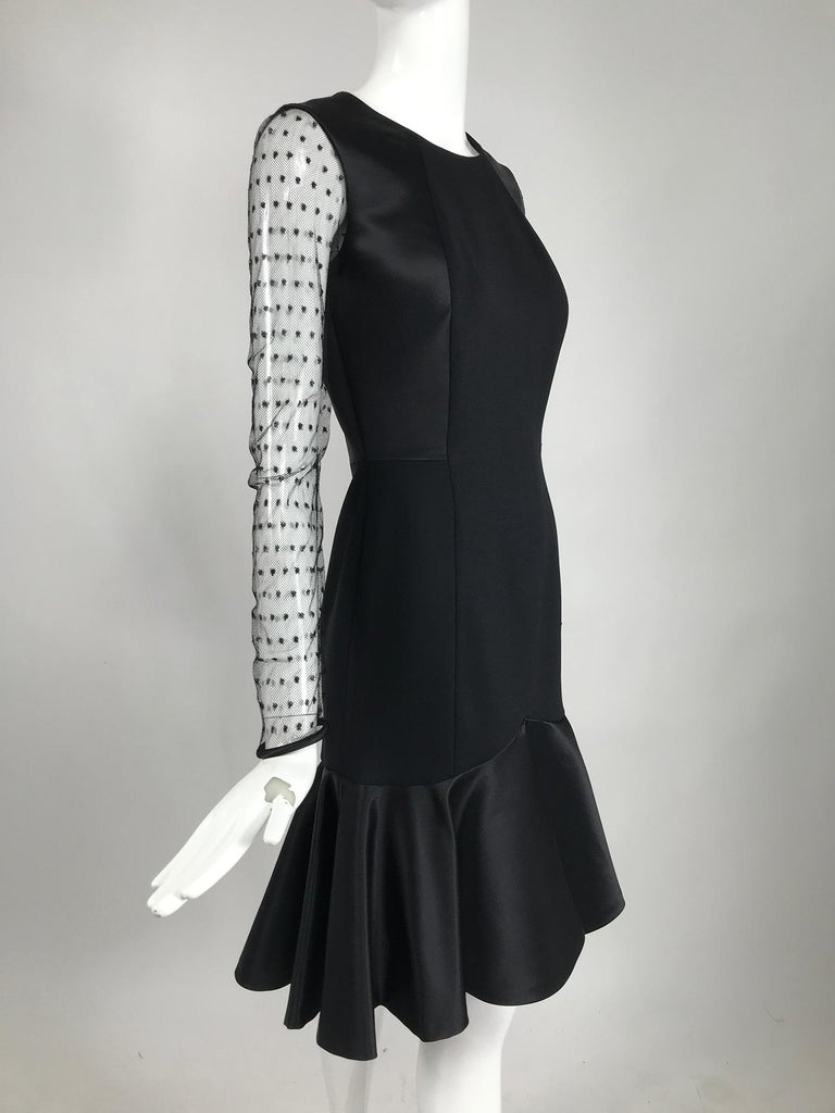 Etro Black Cocktail Dress with Dotted Tulle Sleeves and Satin Hem In Excellent Condition For Sale In West Palm Beach, FL