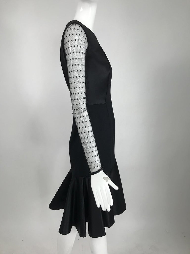 Women's Etro Black Cocktail Dress with Dotted Tulle Sleeves and Satin Hem For Sale