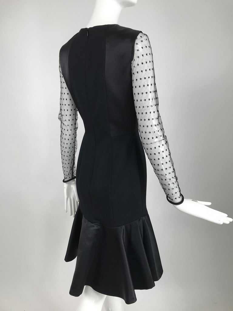 Etro Black Cocktail Dress with Dotted Tulle Sleeves and Satin Hem For Sale 1