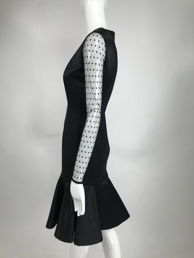 Etro Black Cocktail Dress with Dotted Tulle Sleeves and Satin Hem For Sale 3