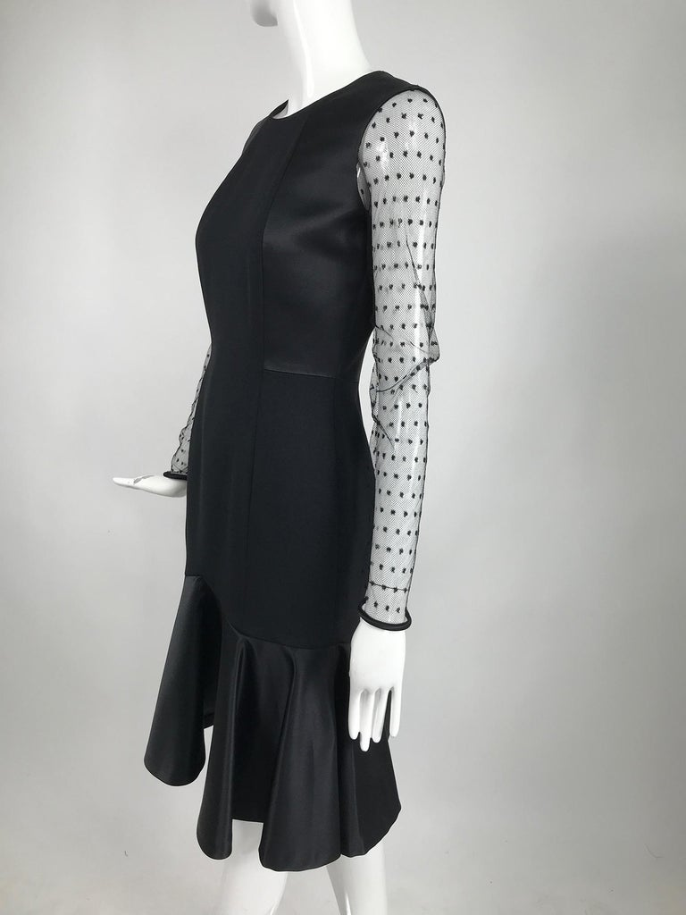 Etro Black Cocktail Dress with Dotted Tulle Sleeves and Satin Hem For Sale 4
