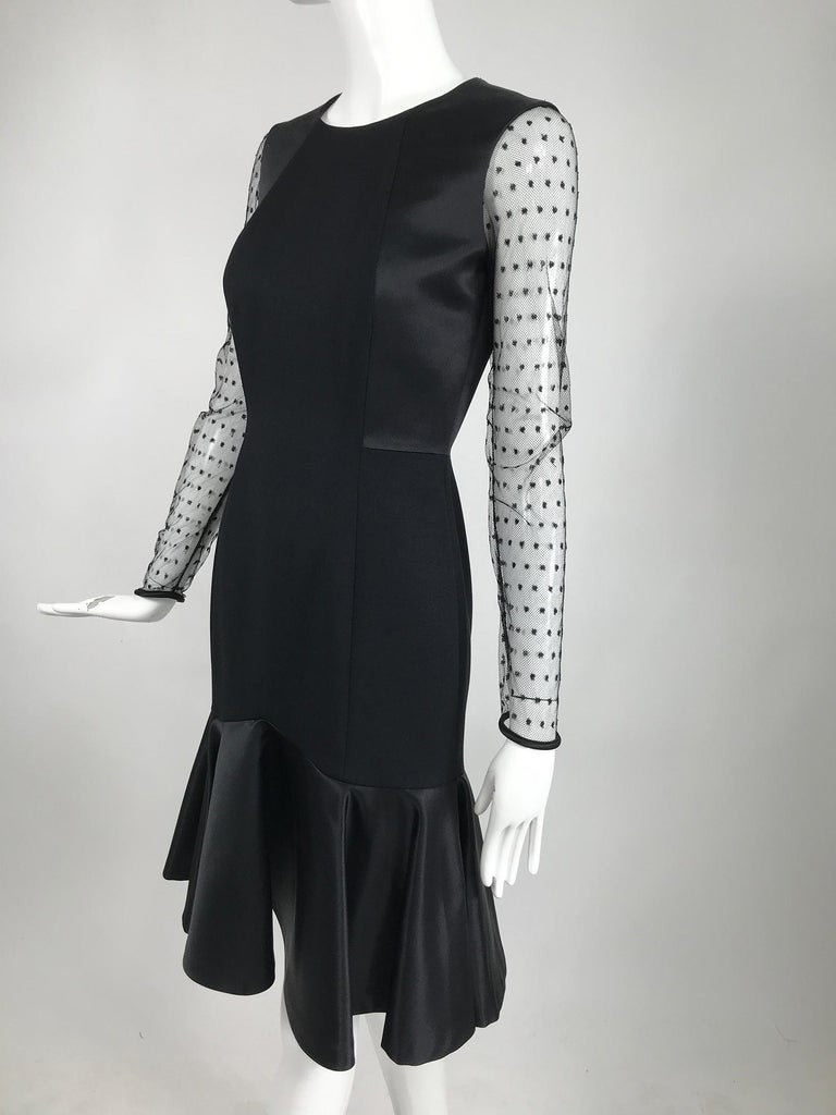 Etro Black Cocktail Dress with Dotted Tulle Sleeves and Satin Hem For Sale 5