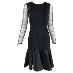 Etro Black Cocktail Dress with Dotted Tulle Sleeves and Satin Hem