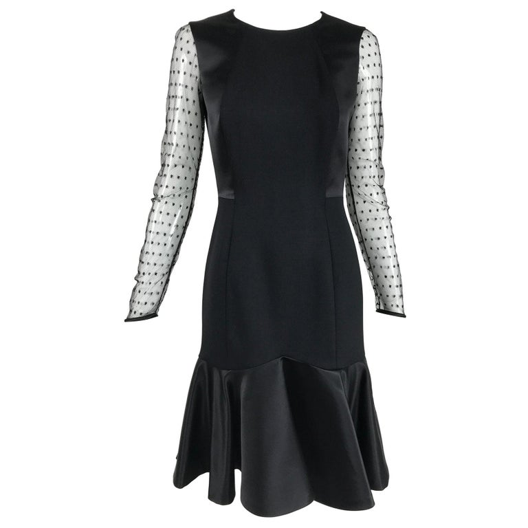 Etro Black Cocktail Dress with Dotted Tulle Sleeves and Satin Hem For Sale