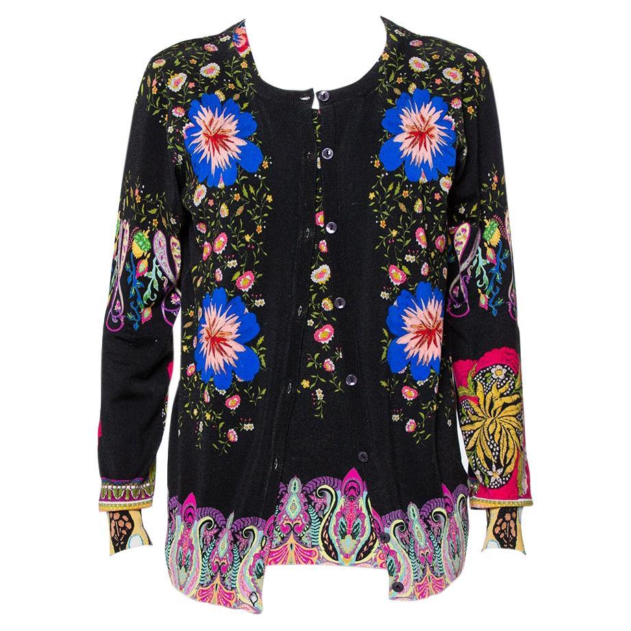 Etro Black Dreamtime Paisley Printed Silk Knit Tank Top & Button Front Cardigan