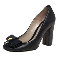 Etro Black Nubuck Leather Bow Block Heel Pumps Size 37