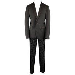 ETRO Black Paisley Wool Peak Lapel Tuxedo - Size US 42 / IT 52