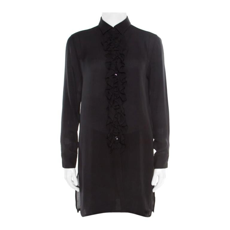 Etro Black Sheer Silk Ruffle Front Tunic Top S For Sale