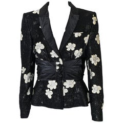 Etro Black & Silver Embroidered Jacket with Pleated Cinch Waist Band