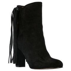 Etro Black Suede Fringe Pull-On Round Toe Ankle Boots Size 36.5