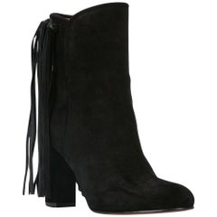 Etro Black Suede Fringe Pull-On Round Toe Ankle Boots Size 37