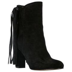 Etro Black Suede Fringe Pull-On Round Toe Ankle Boots Size 38