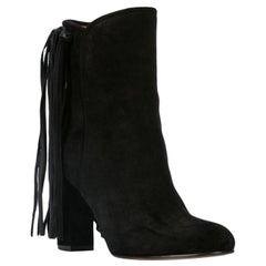 Etro Black Suede Fringe Pull-On Round Toe Ankle Boots Size 38.5