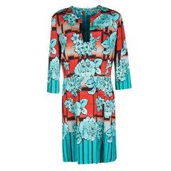 Etro Blue and Orange Floral Print Sheath Dress L