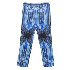 Etro Blue Mexico Print Linen Trousers L