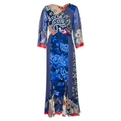 Etro Blue Multiprinted Silk Maxi Dress M