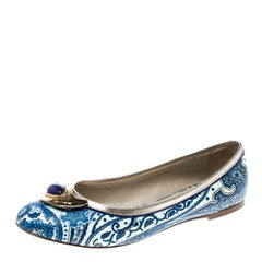Etro Blue Paisley Printed Coated Canvas Embellished Ballet Flats Size 36.5