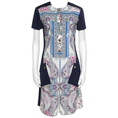 Etro Blue Paisley Printed Cotton Patch Pocket Detail Sheath Dress S