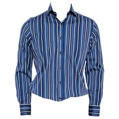 Etro Blue Striped Cotton Button Front Shirt M