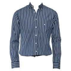 Etro Blue Striped Cotton Button Front Shirt S