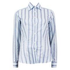 ETRO blue & white cotton  STRIPED Button-Up Shirt 38 XS