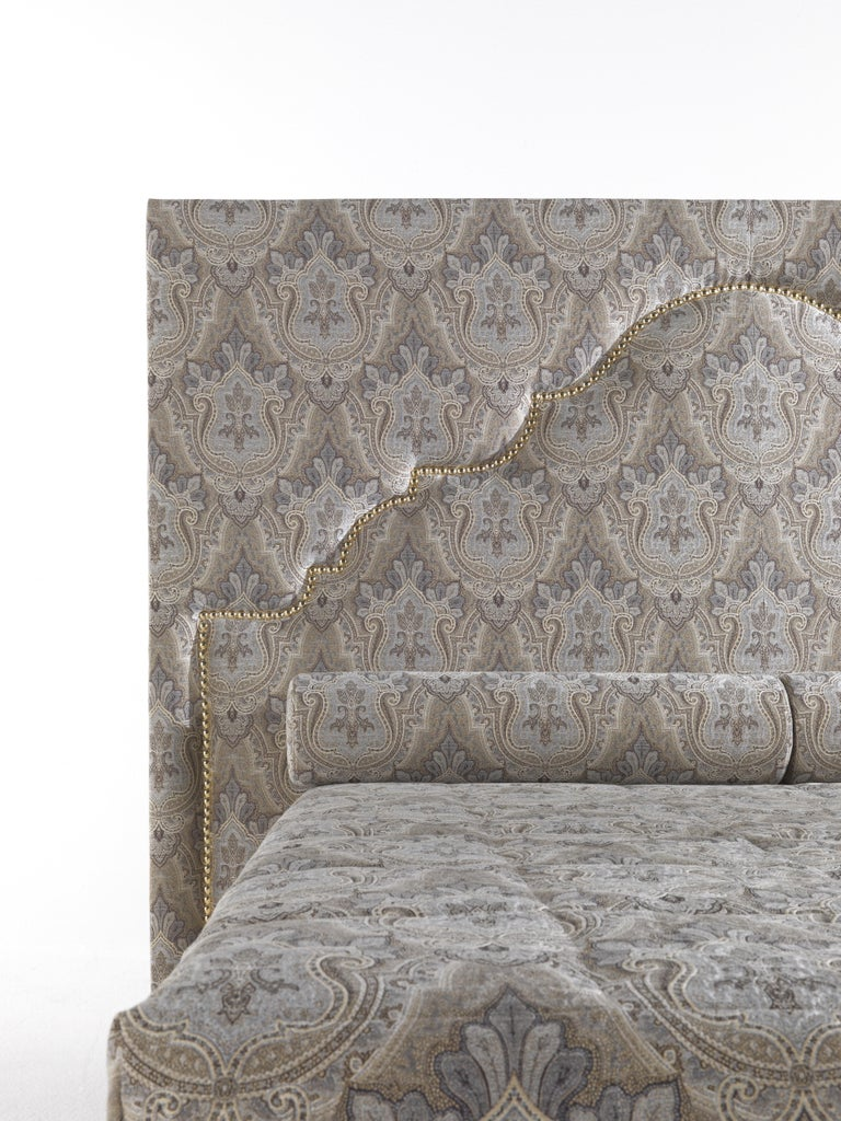 Italian Etro Bombay Bed in Wood and Light Paisley For Sale