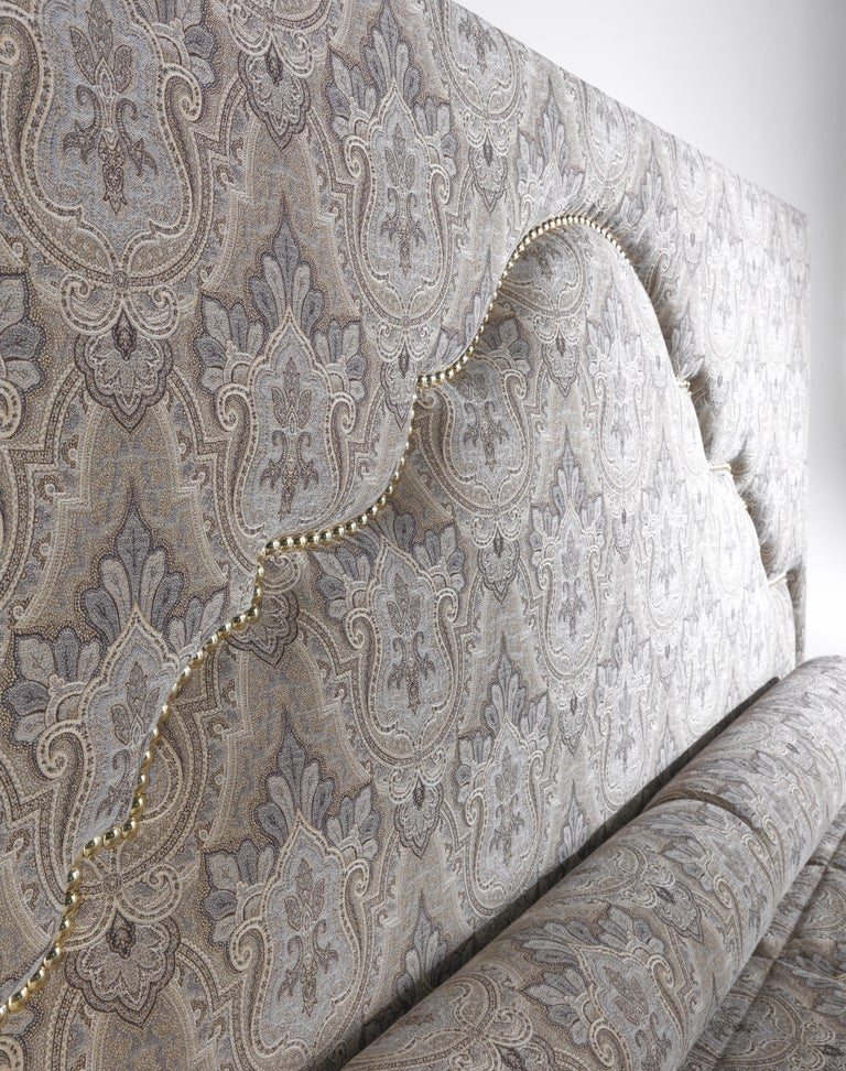 Contemporary Etro Bombay Bed in Wood and Light Paisley For Sale