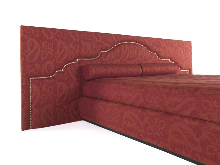 Italian Etro Bombay Extra Large Bed in Wood and Red Paisley For Sale