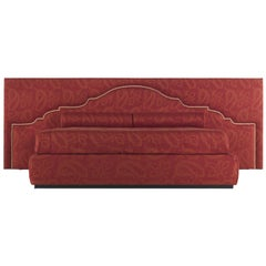 Etro Bombay Large Bed in Wood and Red Paisley