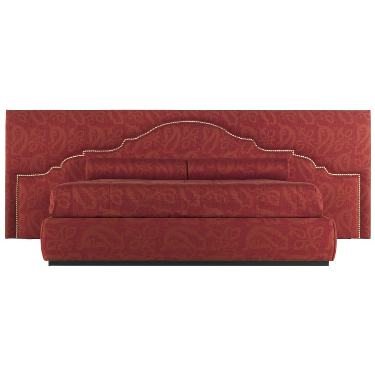 Etro Bombay Large Bed in Wood and Red Paisley For Sale
