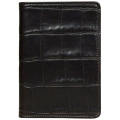 Etro Brown Embossed Crocodile Leather Passport Holder Wallet