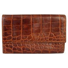 Etro Brown Leather Crocodile Print Wallet