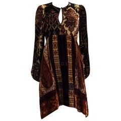 ETRO brown NOTTINGHAMSHIRE CRUSHE VELVET PAISLEY Dress M