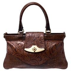 Etro Brown Paisley Embossed Leather Turnlock Shoulder Bag