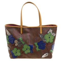 Etro Brown Paisley Printed Coated Canvas Shopper Tote