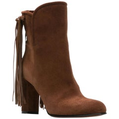 Etro Brown Suede Fringe Pull-On Round Toe Ankle Boots Size 38.5