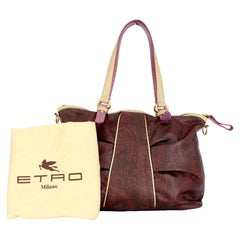 Etro Burgundy Beige Leather Canvas Paisley Tote Bag