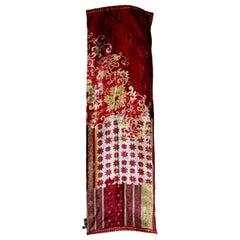 Etro Burgundy Beige Silk Large Floral Scarf 1990s