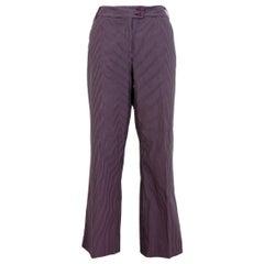Etro Burgundy Pink Cotton Pinstripe Straight High Waist Trousers