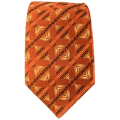 ETRO Burnt Orange Geometric Print Silk Tie