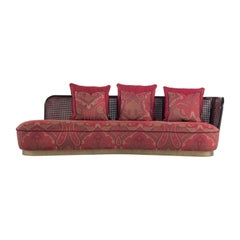Etro Home Interiors Caral 3-Seater Round Sofa with Left Arm in Wood and Fabric