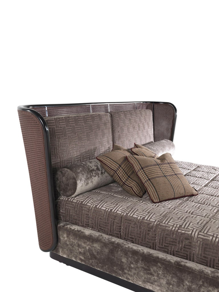 Contemporary Etro Caral Bed in Wood and Velvet For Sale