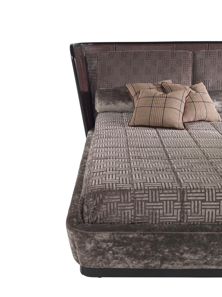 Modern Etro Caral Bed in Wood and Velvet For Sale