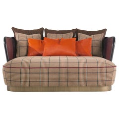 Etro Home Interiors Caral Dormeuse with Cherry Red lacquered cane