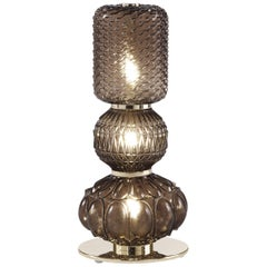 Etro Chagall Table Lamp in Metal and Clear Bronze Glass